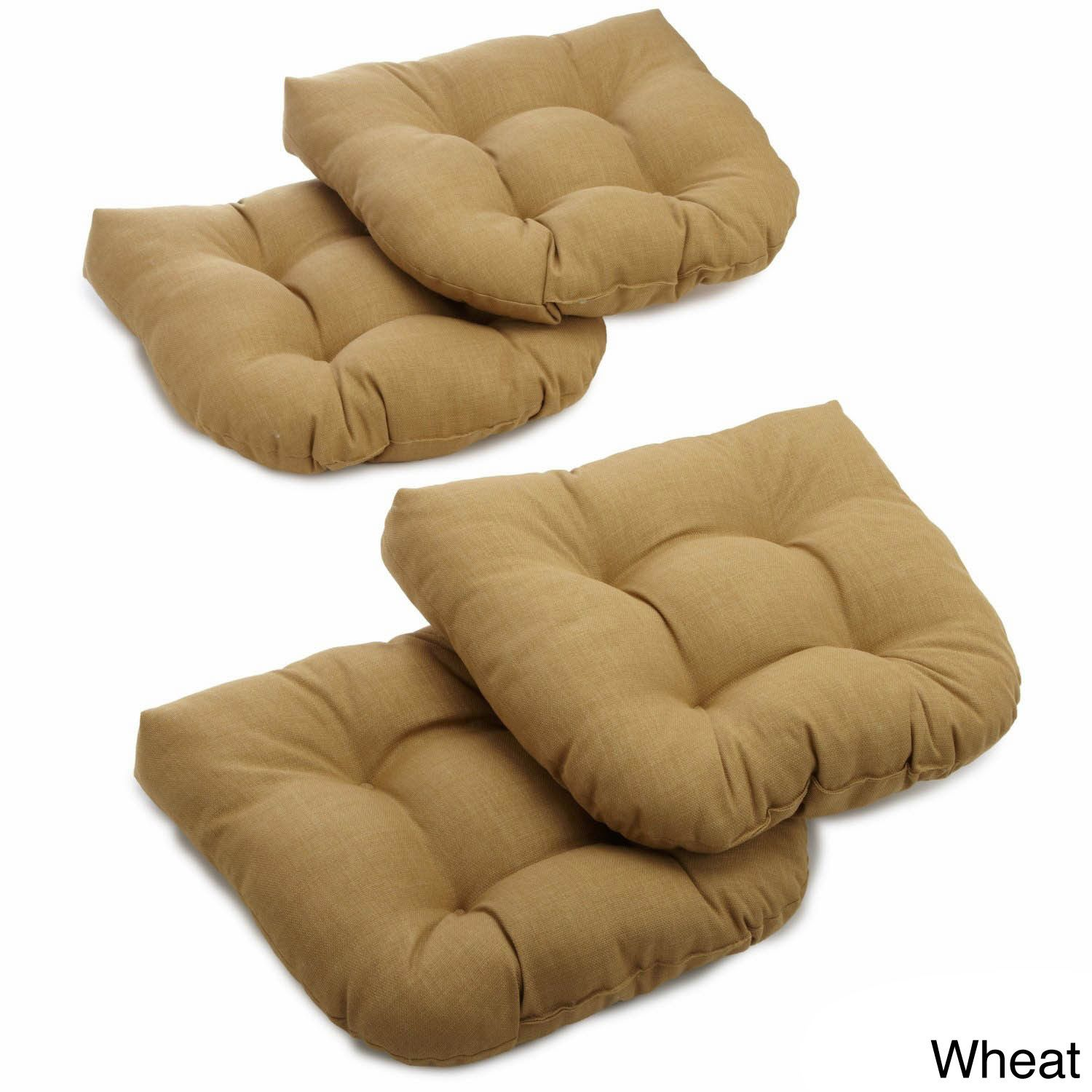 Blazing Needles All Weather U Shaped Tufted Outdoor Chair Cushions (Set Of 4