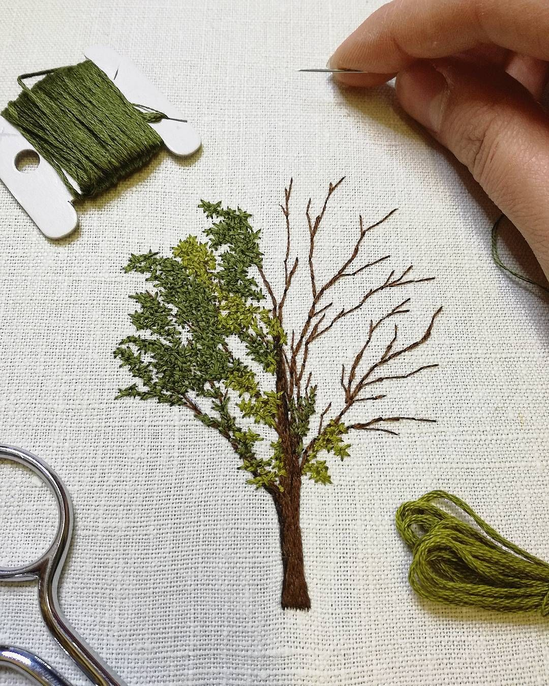 Tree Embroidery a tiny little leaves stitching | Embroidery