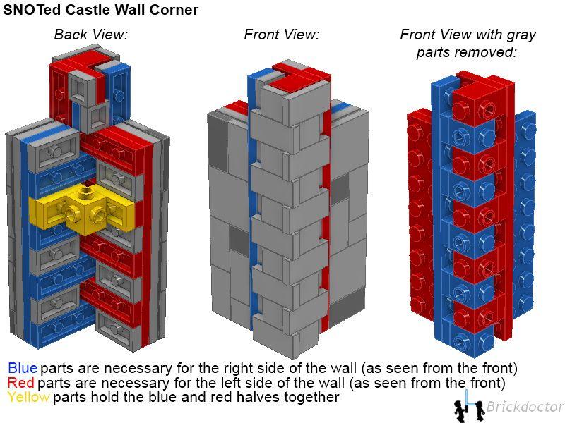 Lego SNOT castle wall technique