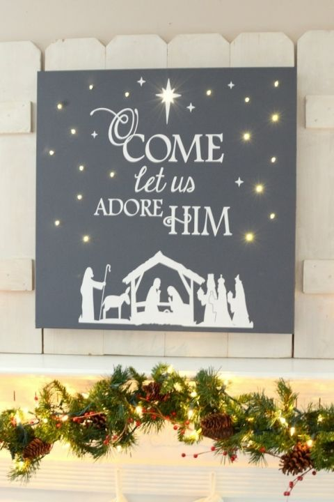 Christmas Canvas With Battery Lights Quot O Come Let Us