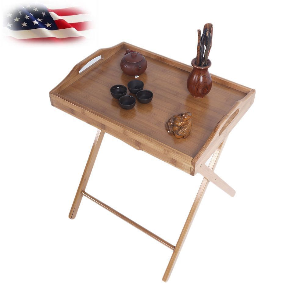 Us Folding Wood Tv Tray Dinner Table Coffee Stand Serving Snack Tea