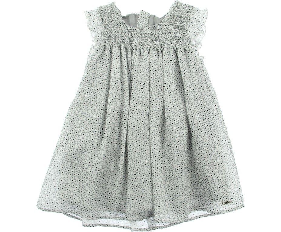 f92c6a78b Chloe Baby Girls Grey Dot Smock Dress 64p