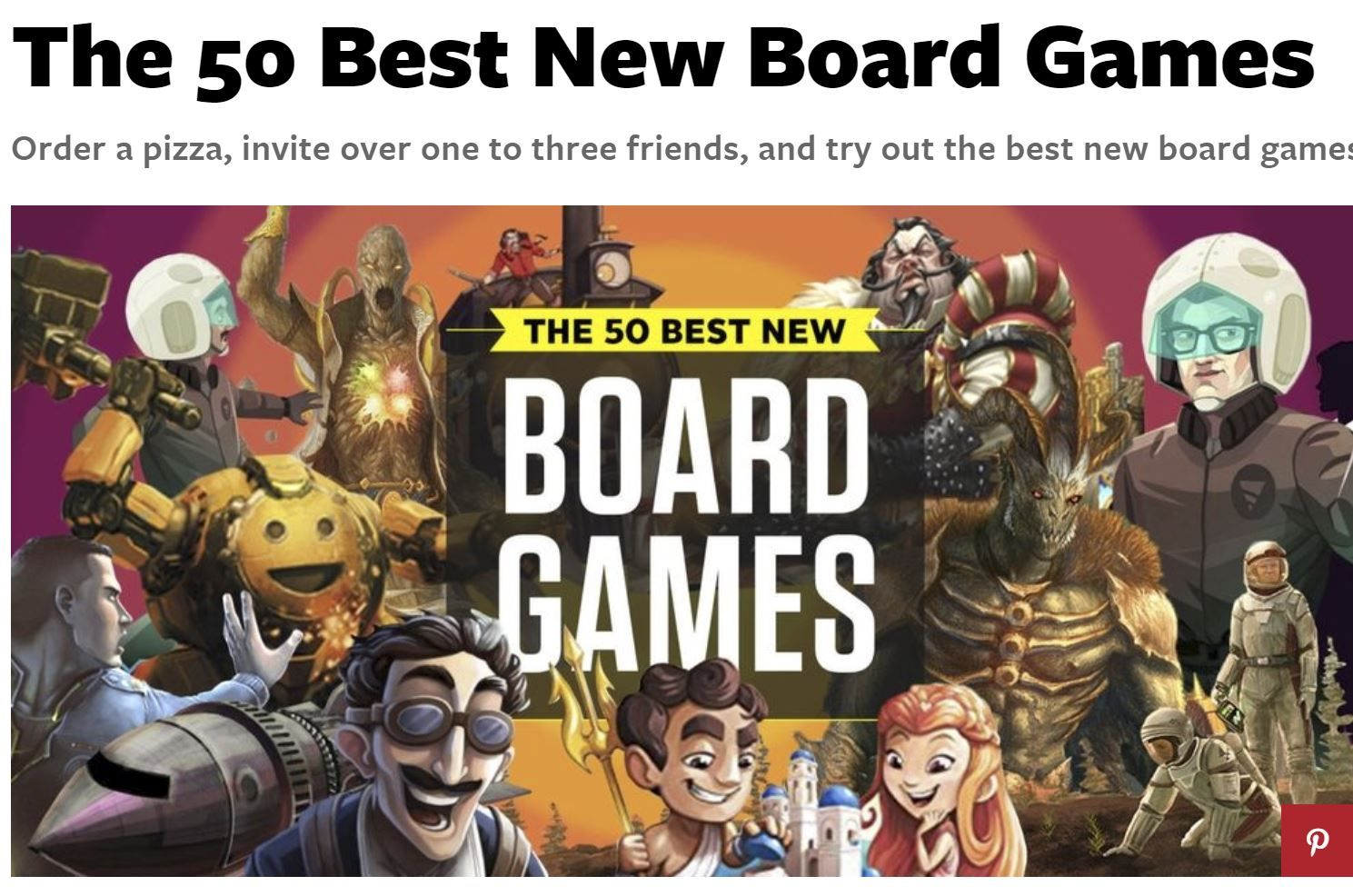 Popular Mechanics releases their top 50 Board Games of
