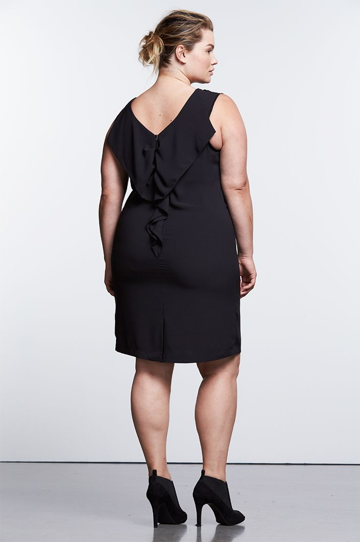 f48f881cdd6b ... dress wows with details including a deep V neckline and ruffled trim.  Find the Simply Noir collection of little black dresses from Simply Vera  Vera Wang ...