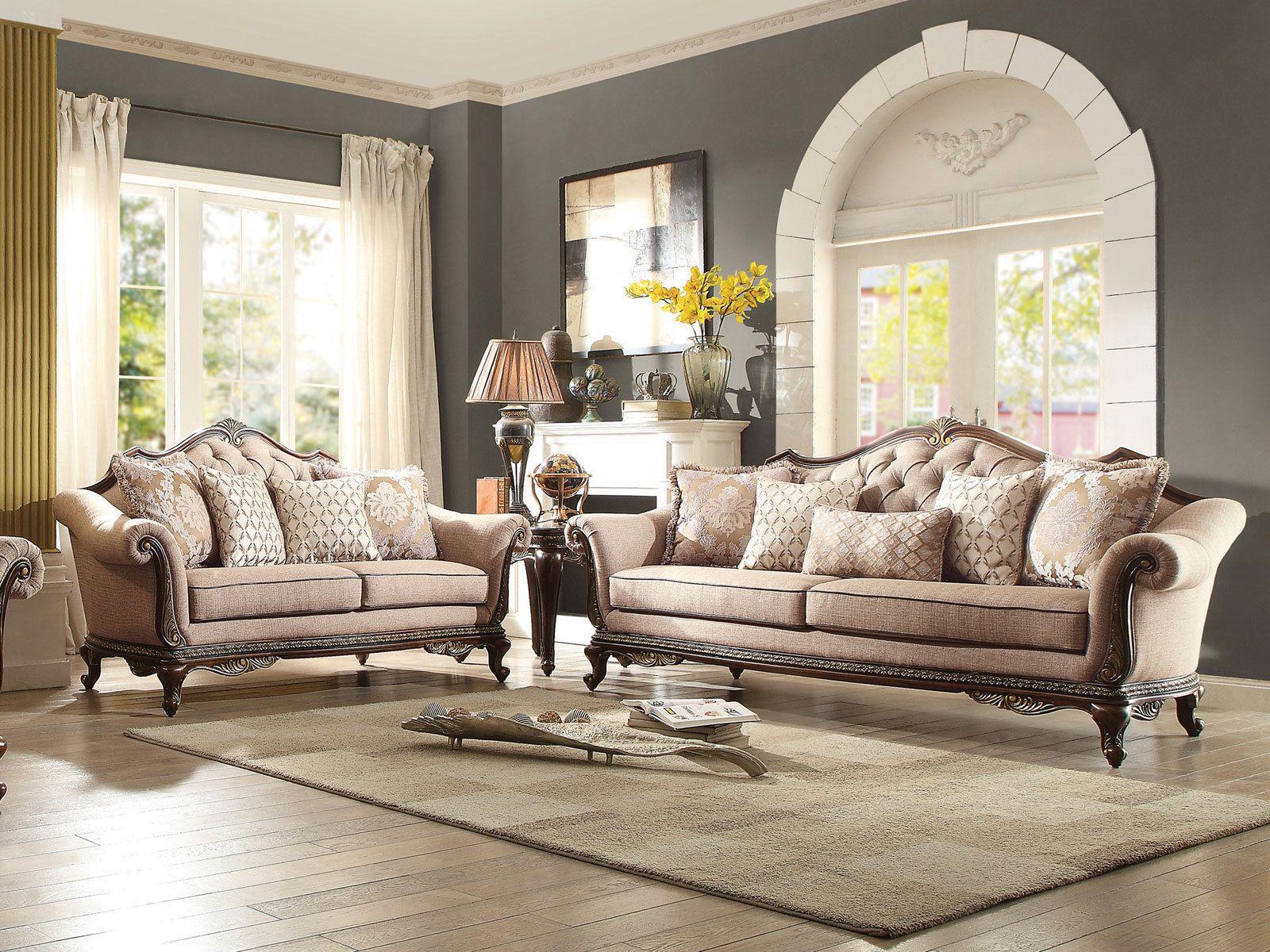 RENATA Traditional Living Room Wood Trim Brown Chenille Fabric