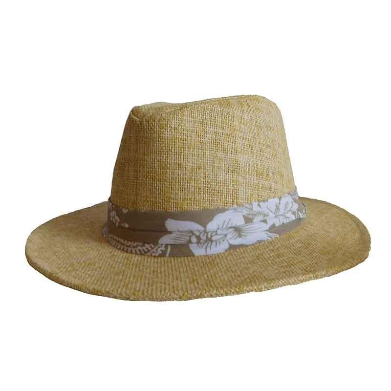 e2277be9aca Soft matte toyo safari hat. Three-pleat tropical print band. Ribbon inner  band. Curved (front to back) 2.25