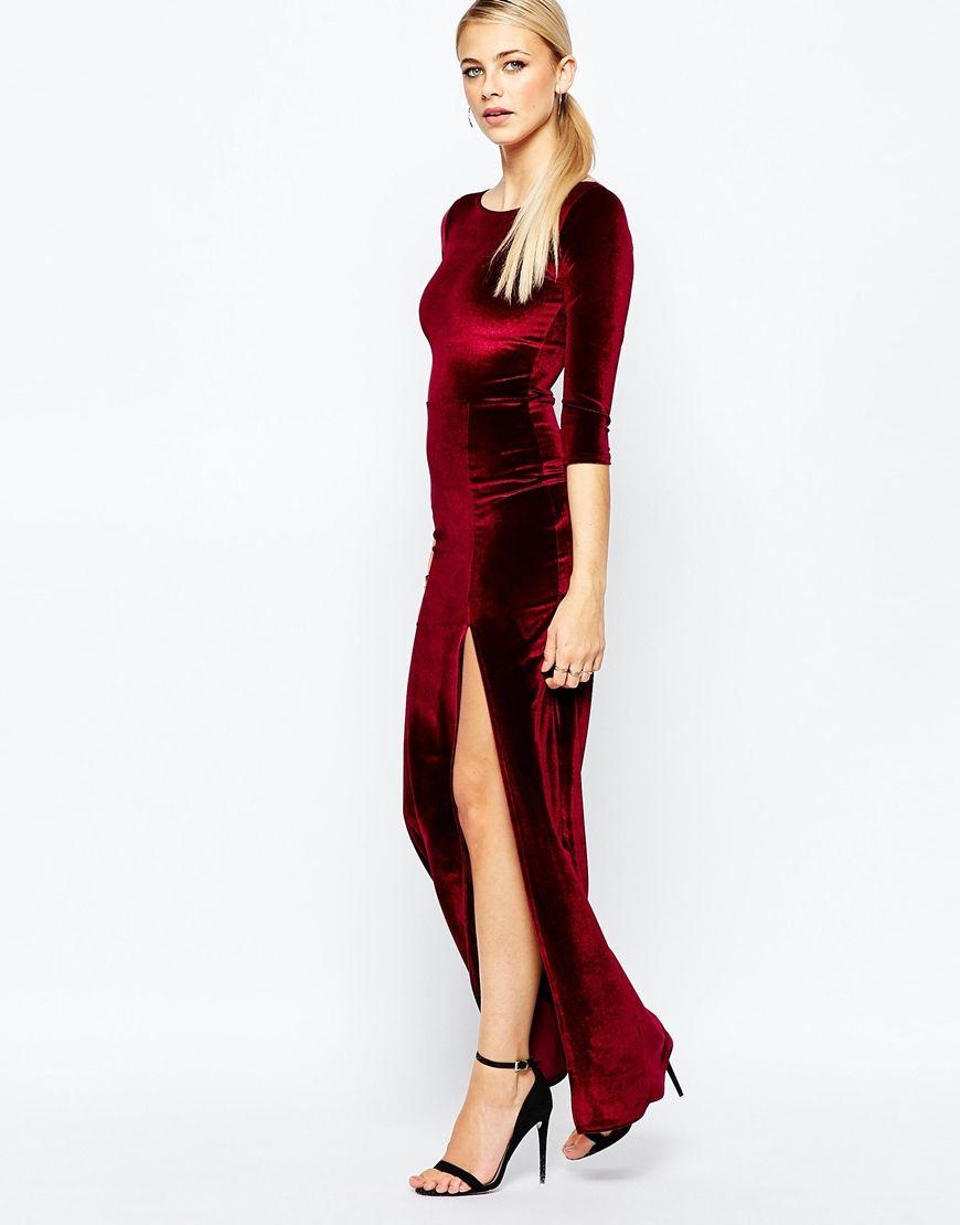 f420c90762 Boohoo Velvet Maxi Dress With Thigh Split | Velvet | Dresses, Red ...