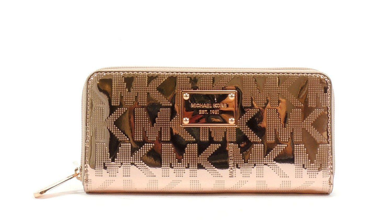 68fa56854 Michael Kors ZA Continental Mirror Metallic Rose Gold Signature MK: Handbags:  Amazon.com