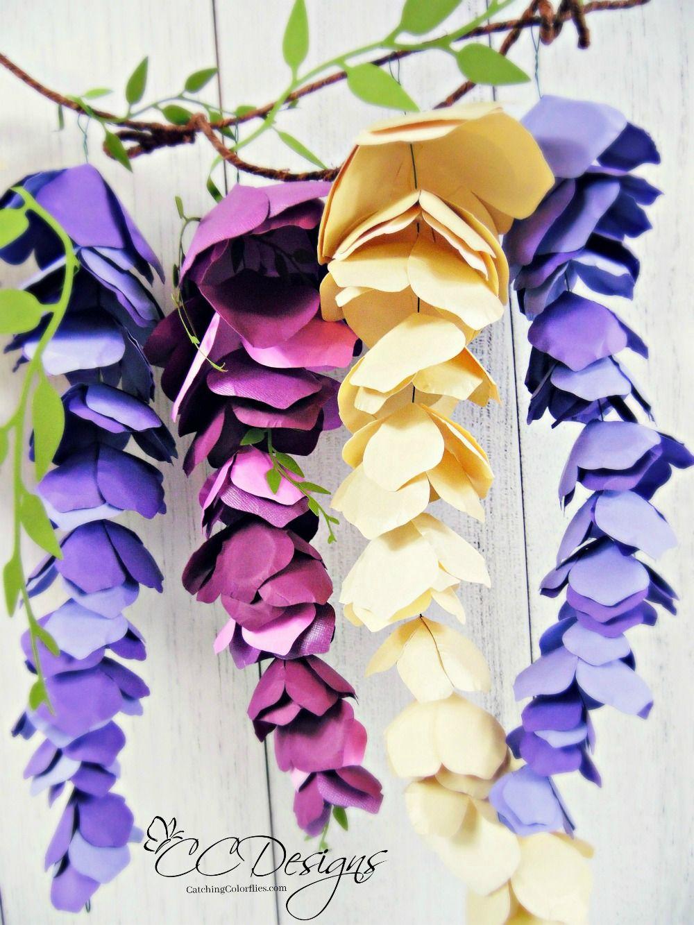 Paper Wisteria Tutorial Diy Hanging Paper Wisteria Flowers Paper Flowers Paper Flower Tutorial Paper Flowers Diy