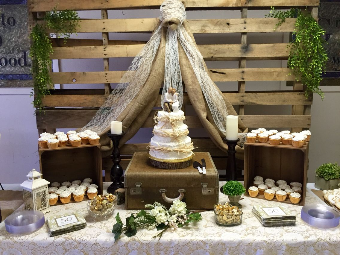 Burlap Lace 50th Anniversary Party Willow Rustic Wioden