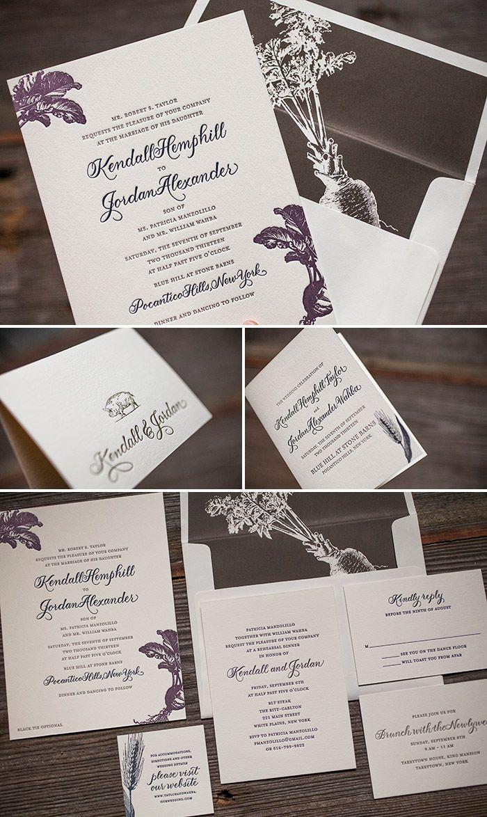 Custom letterpress wedding invitation suite with vintage motifs ...
