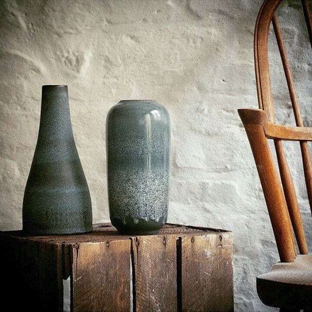 Two vases I adore. A classic bottle in a duotone blue/black, and a classic vase in ash blue glaze.  Both made by me.  #handmade#ceramicsby#Tortus#copenhagen with a#lovefor#craftsmanship and#unique#pottery
