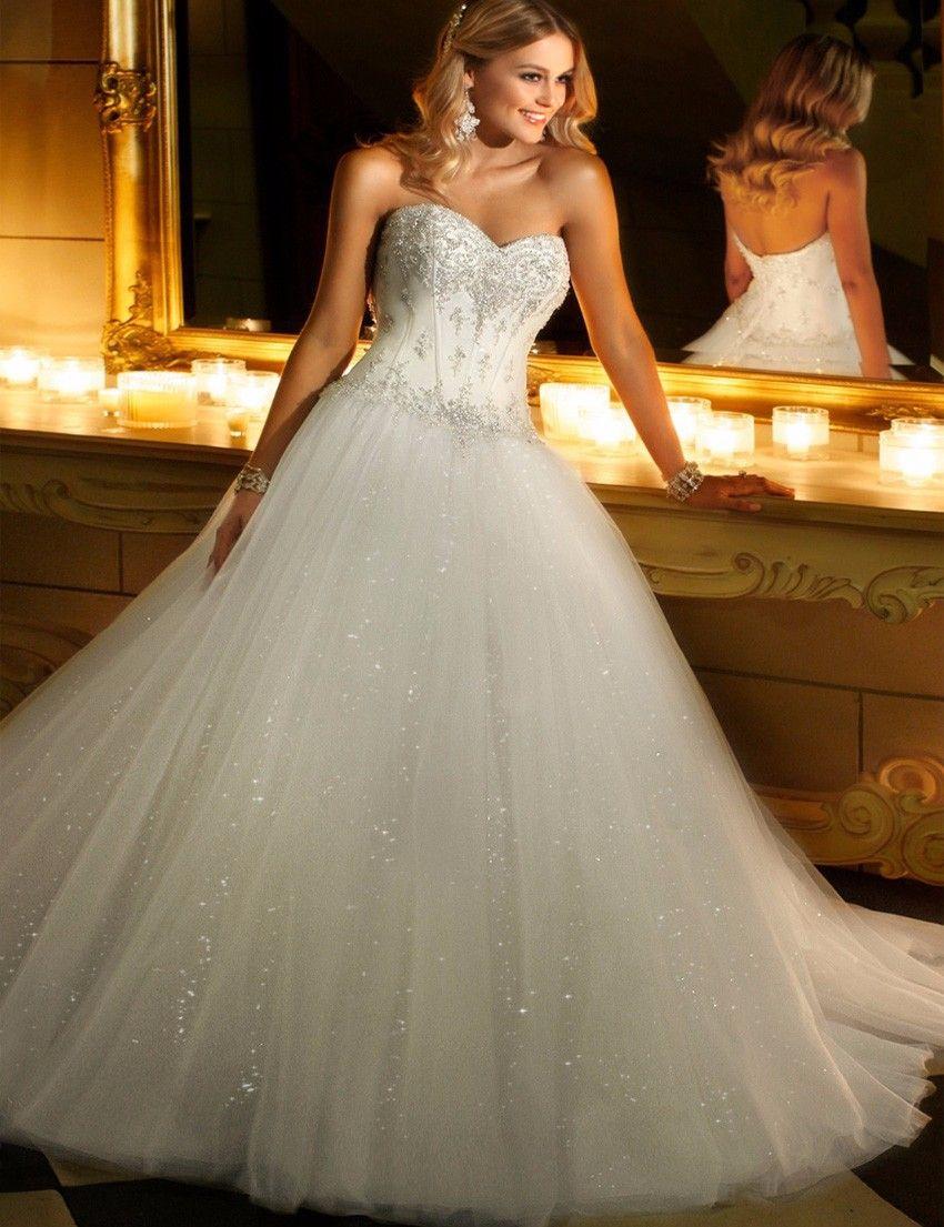 Flower and Diamond decoration wedding dress princess high ...