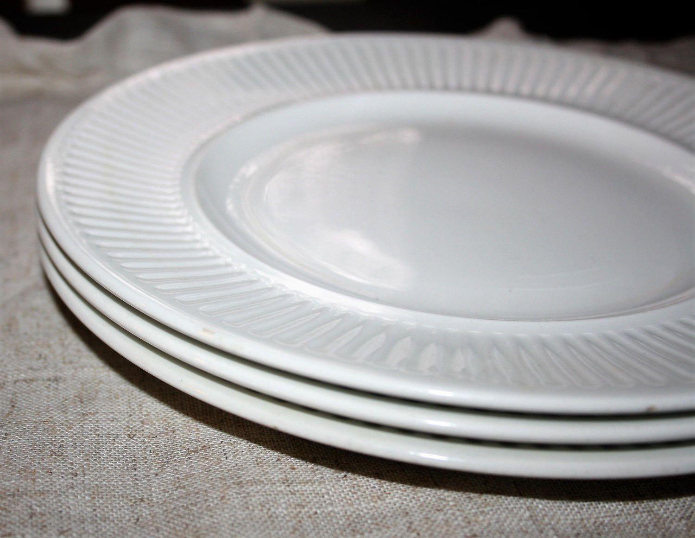 Three 3 Vintage Johnson Brothers Athena Dinner Plates White Ironstone England 10 1/4 inches & Four 4 Vintage Johnson Brothers Athena Dinner Plates White Ironstone ...