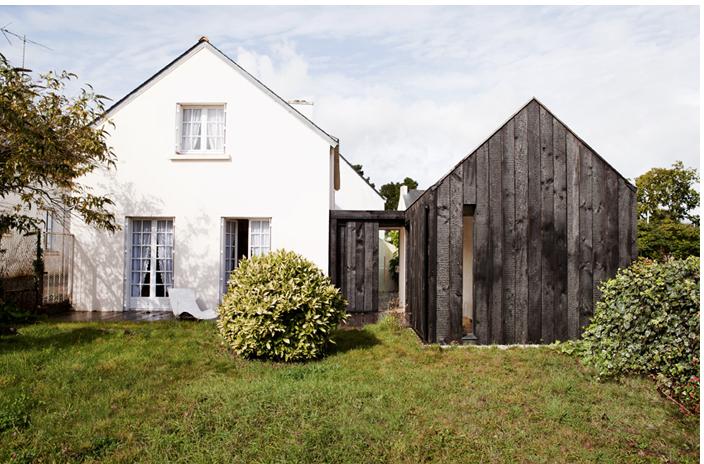 NeM charred wood vacation cottage Brittany ; Gardenista