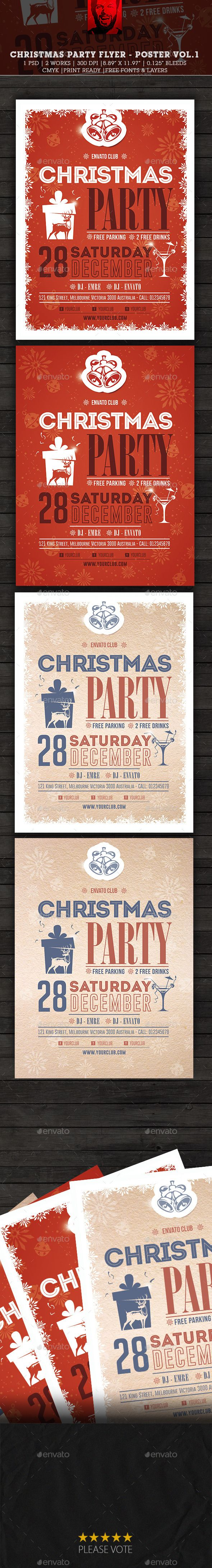 Christmas Party Flyer  Poster Vol  Party Flyer Christmas