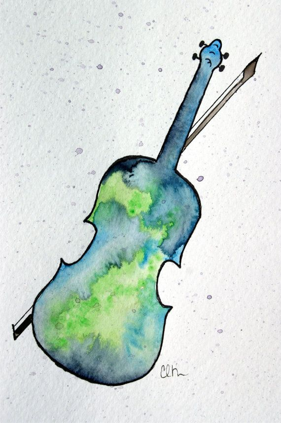 Watercolor greeting card - Fiddle, Etsy
