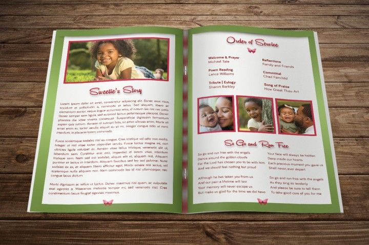 Child Funeral Program Template By Godserv Designs  Funeral