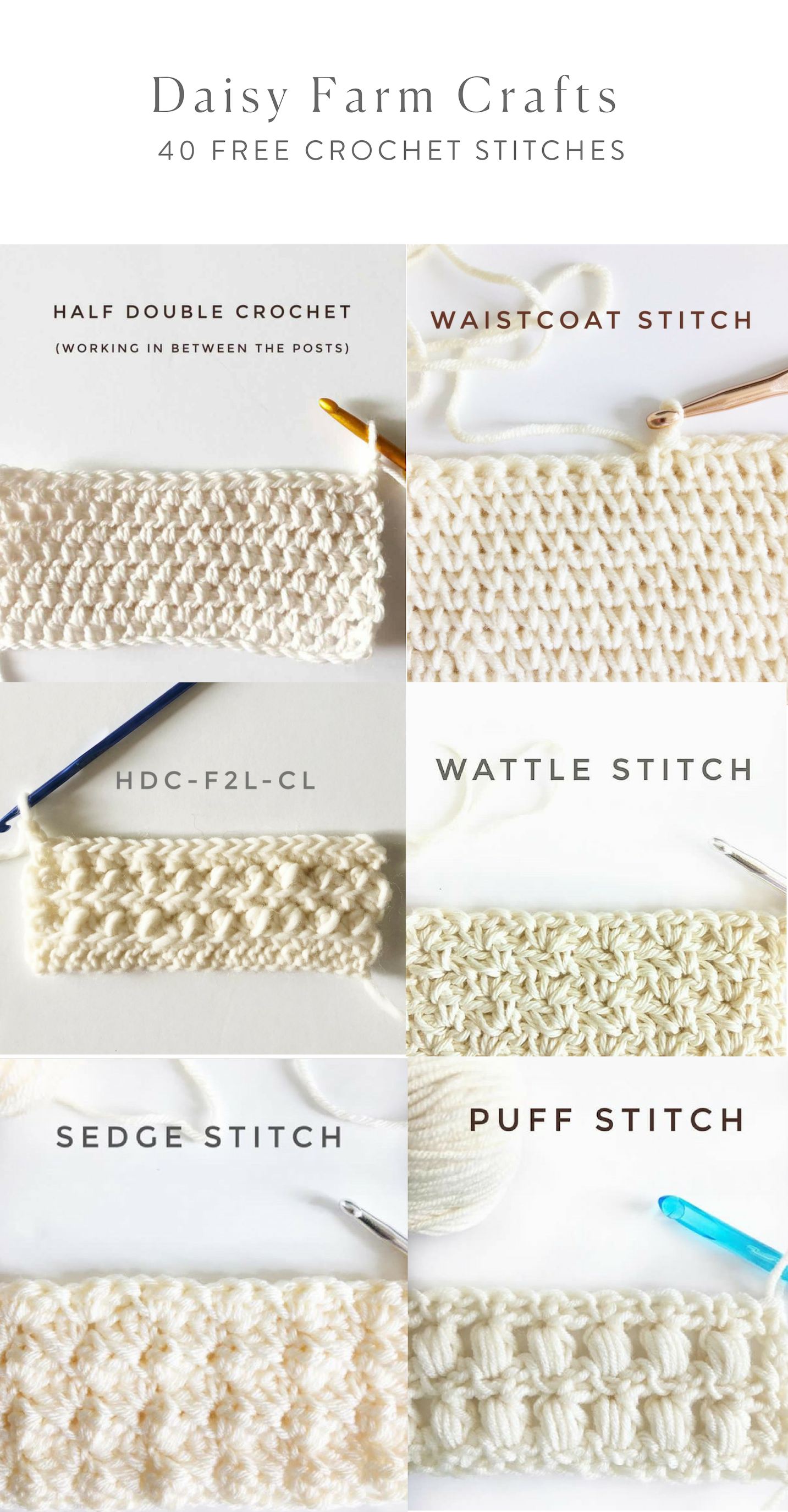 40 Free Crochet Stitches from Daisy Farm Crafts | crochet ...