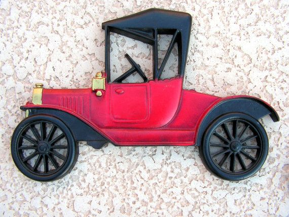 Vintage RED Car Wall Art Hanging / Cast Metal Midwest FORD / Antique Car  Room Décor