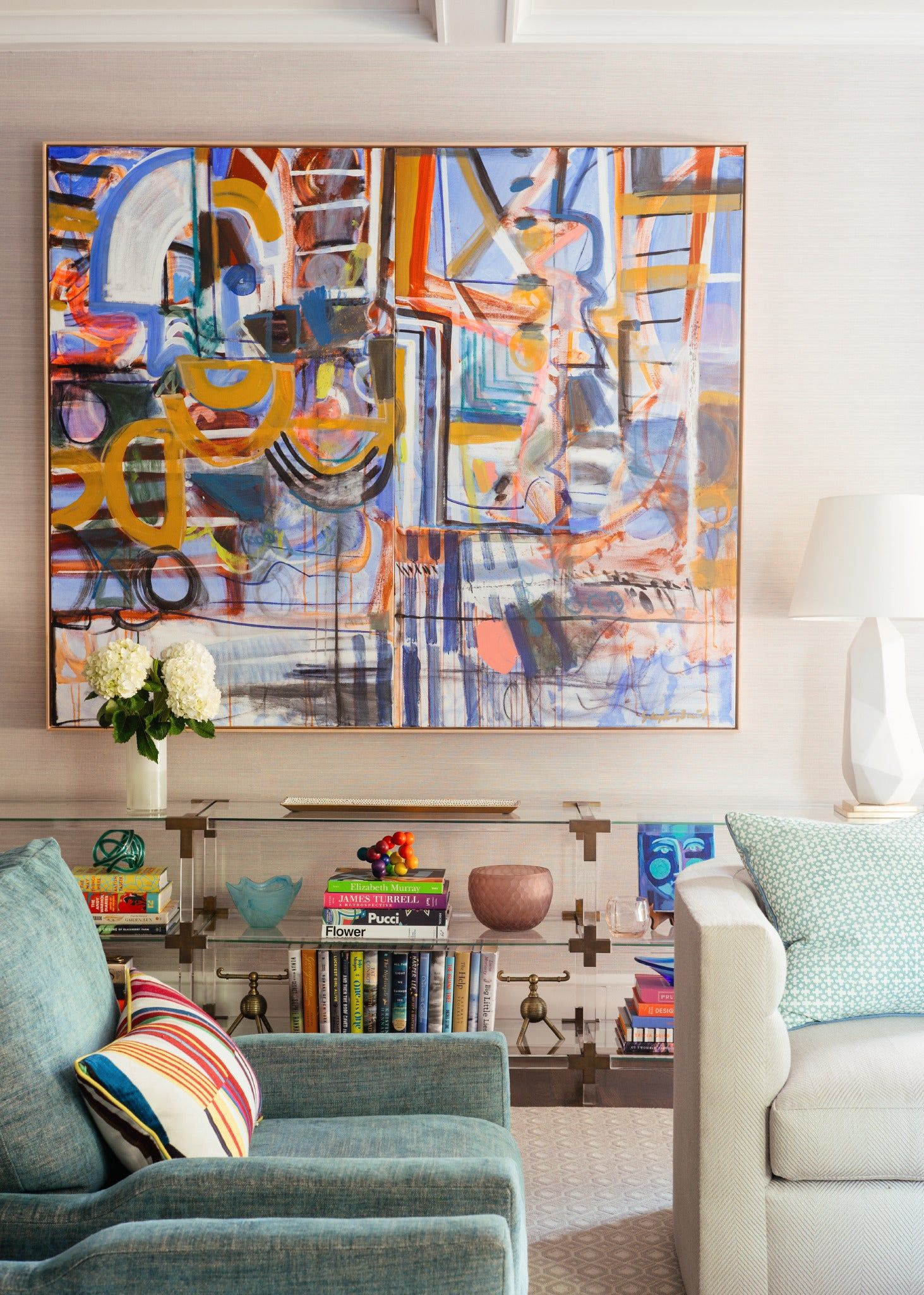 Warm and Bright Transitional Living Room, Charlotte Lucas ...