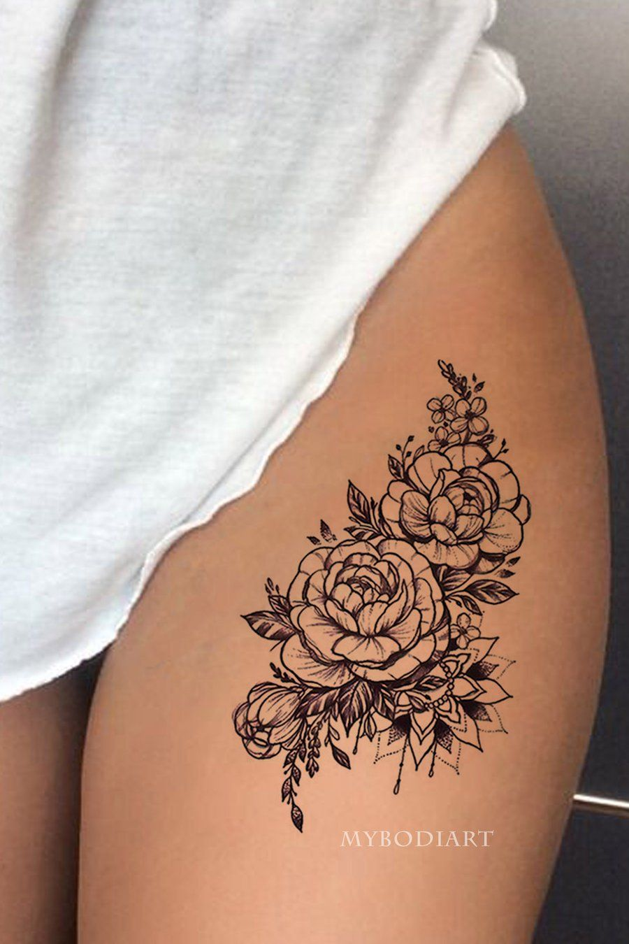 Chilam Watercolor Small Red Black Rose Mandala Temporary Tattoos Front Thigh Tattoos Rose Tattoo Thigh Inner Thigh Tattoos