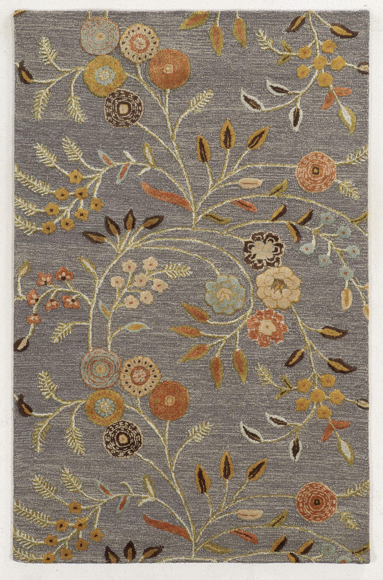Novorossiysk Hand Tufted Wool Mauve Rug Wool Area Rugs Floral Area Rugs Area Rugs