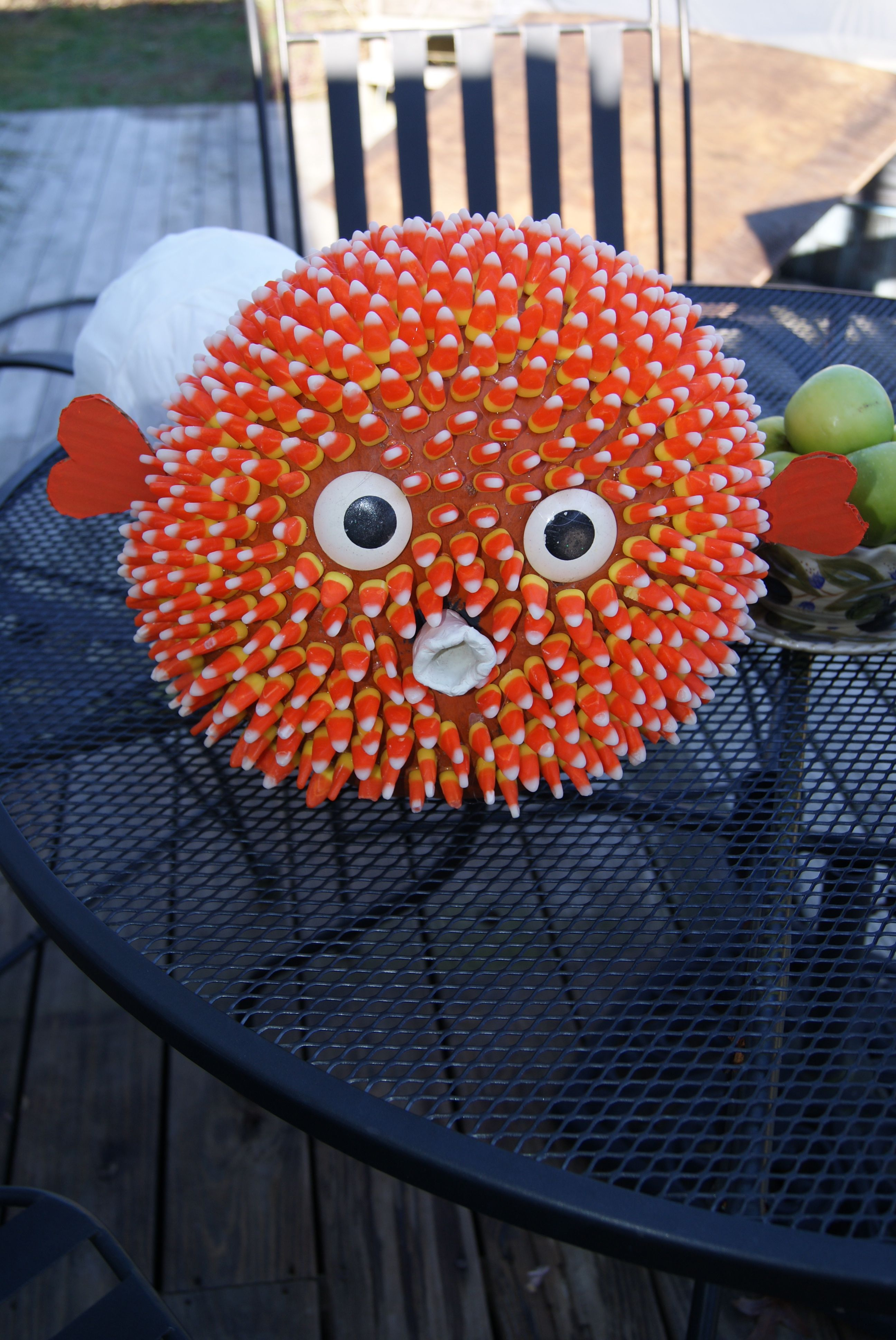 A puffer fish pumpkin that i made DIY Crafts
