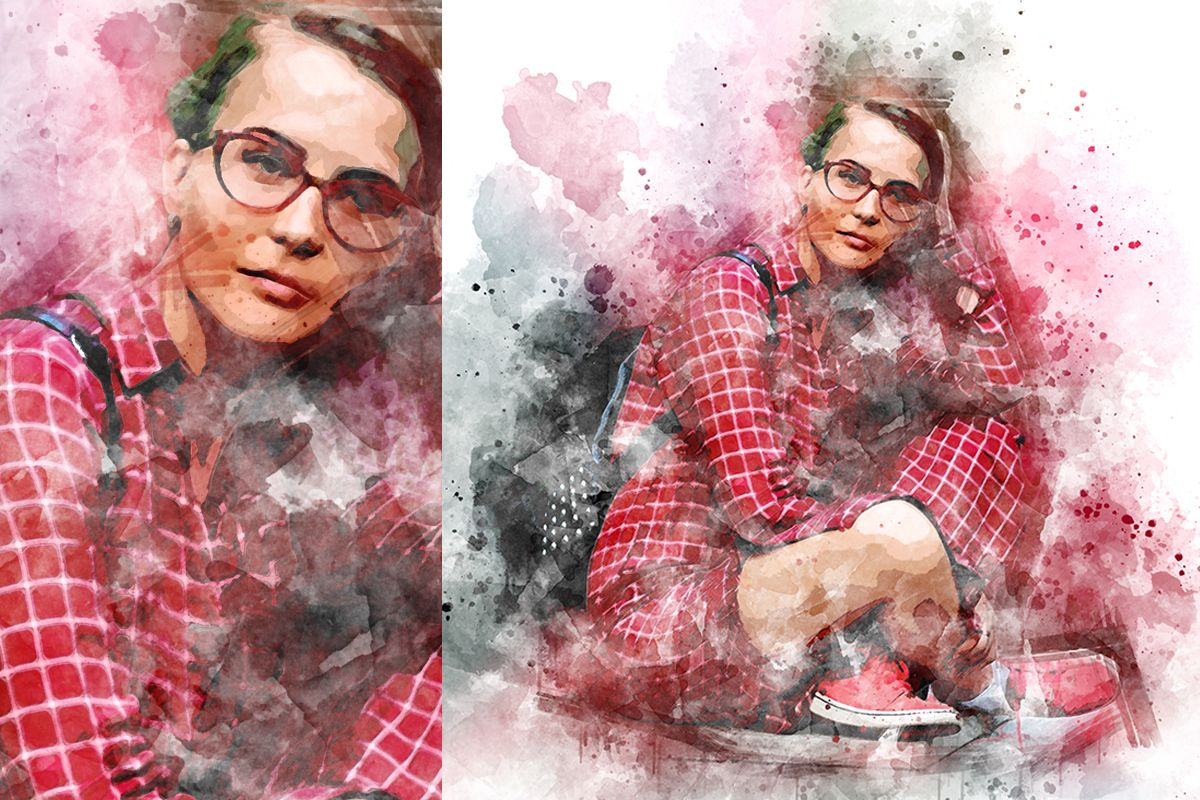 Watercolor Splashes Photoshop Action Splashes Watercolor