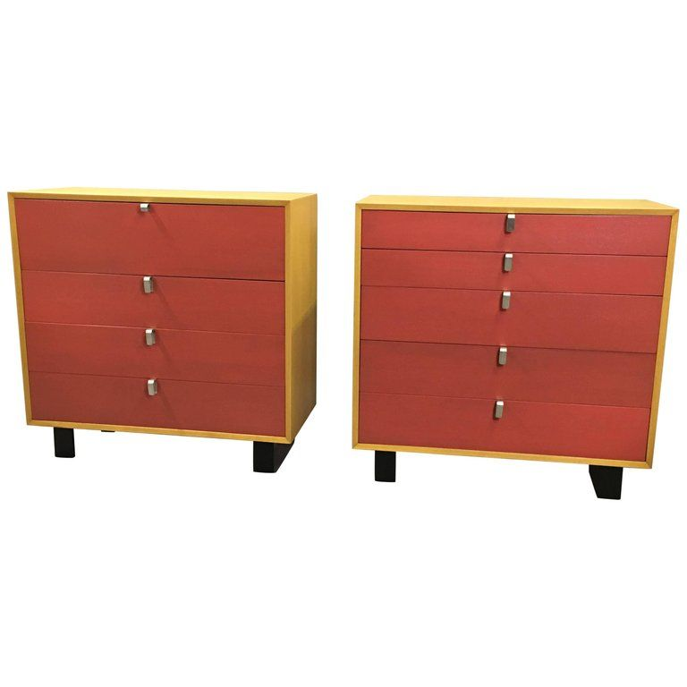 Lacquered George Nelson Highboy Dressers With Rare Aluminum Pulls