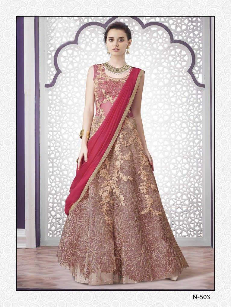 buy saree online Designer Gajri Pink Colour Indo Western Wedding ...