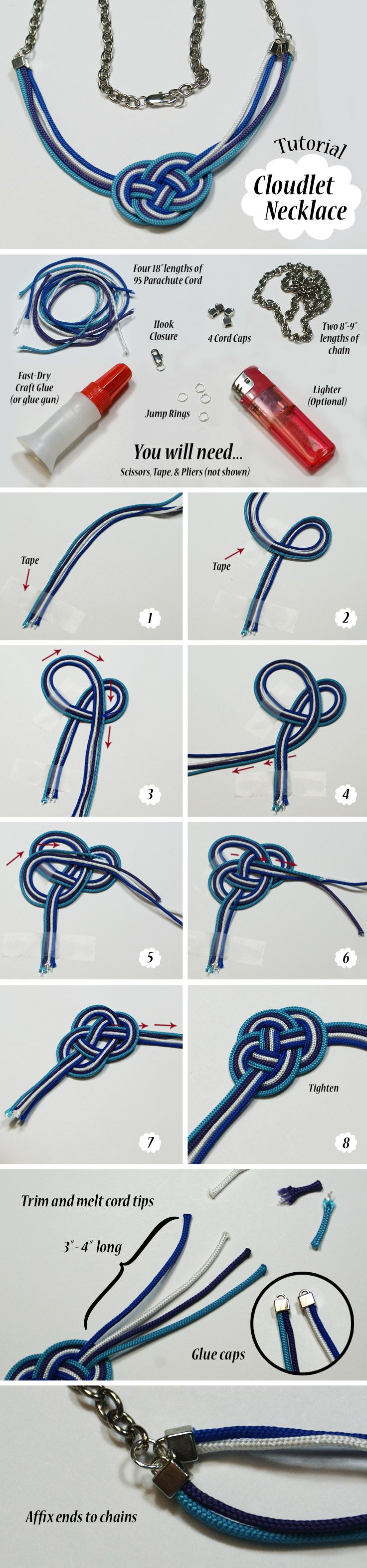 Collar de nudos tricolor ideas pinterest - Nudos marineros para pulseras ...