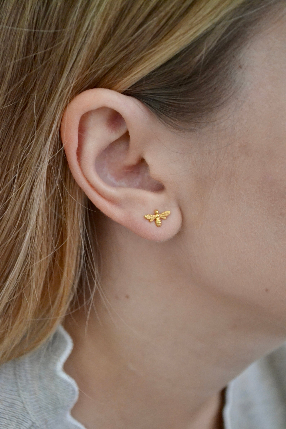 Photo of Bee earrings, tiny bee stud, dainty bumble bee lover gift, Sterling silver studs gold vermeil, insect earrings, child earrings, cute earring