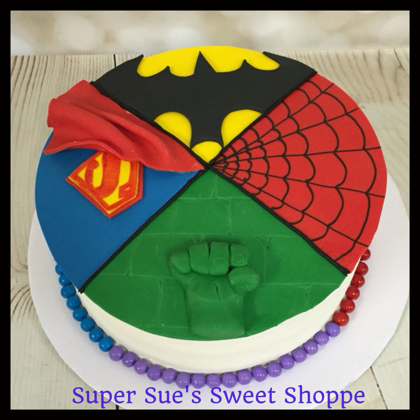 Astounding Hulk Superman Batman And Spider Man Themed Cake Cake Themed Funny Birthday Cards Online Sheoxdamsfinfo