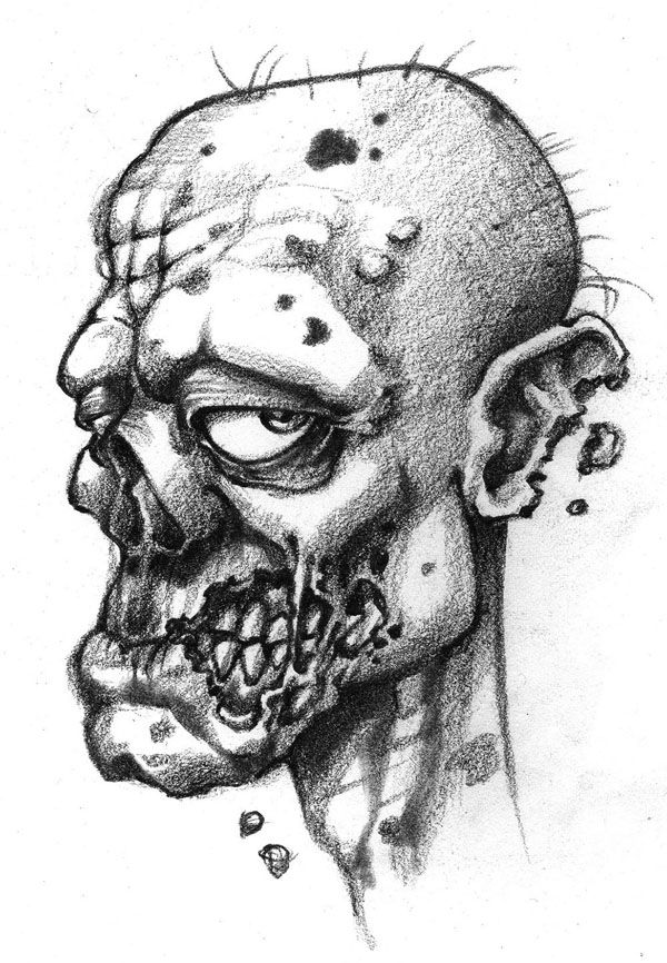 Zombie Face Line Drawing : Zombie cartoon drawings zombies the