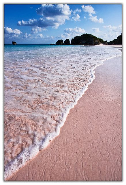 My favorite place - I have ridden horseback right on this beach:>)   The pink sand of Horseshoe Bay Beach, Bermuda..The Pink Sand is the Real Deal..