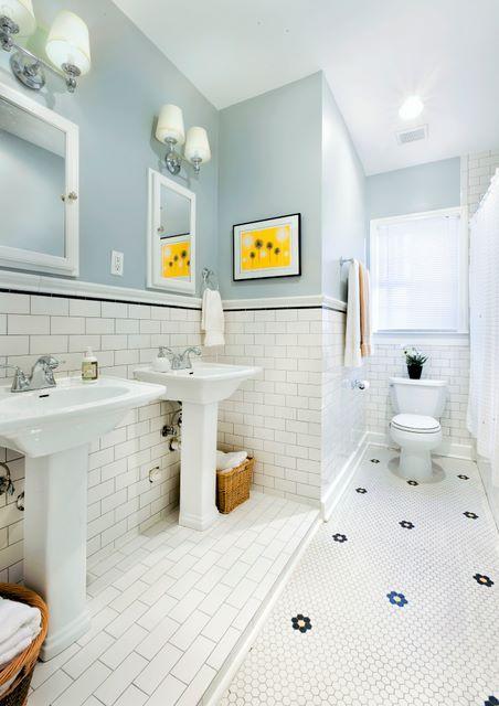 Bath hex tile | ... hexagon tiles, subway tile, pedestal sink, gray, yellow,  black, bath | Bath remodel | Pinterest | Bathroom colors, Color combos and  ...