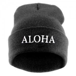 Aloha Szara Czapka Beanie Krasnal Haft Beanie Hats Fashion