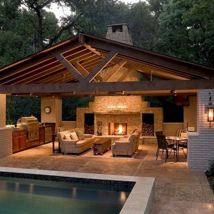63 The Most Popular Outdoor Living Room Decoration Models Tips To Furnishing Your Outdoor Backyard Pavilion Patio Design Backyard Patio Designs
