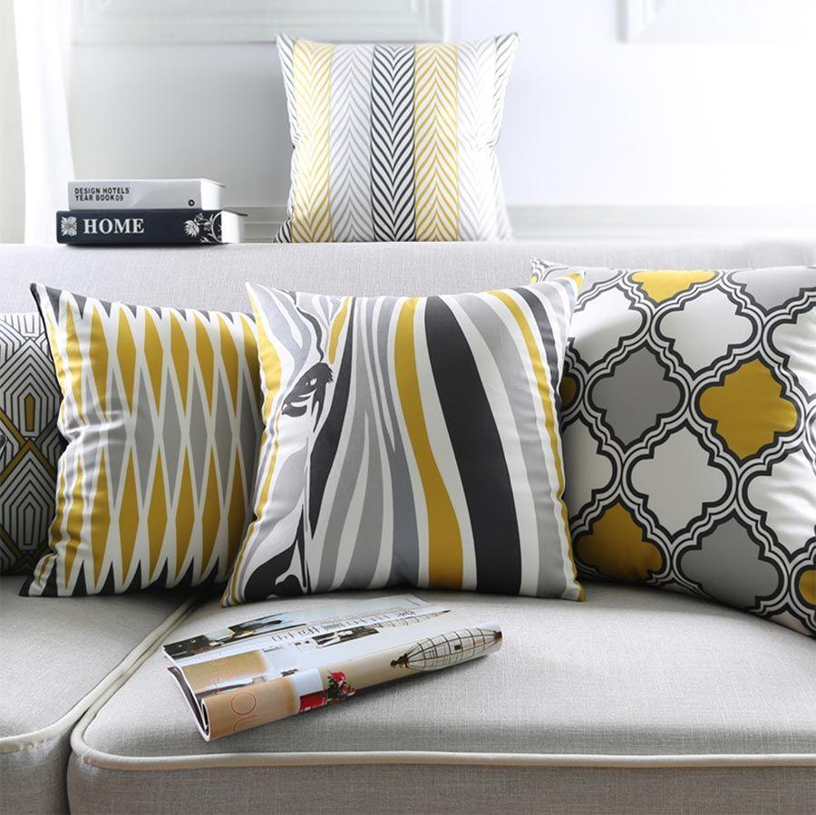 Free shippingblack gray yellow geometric square throw pillow