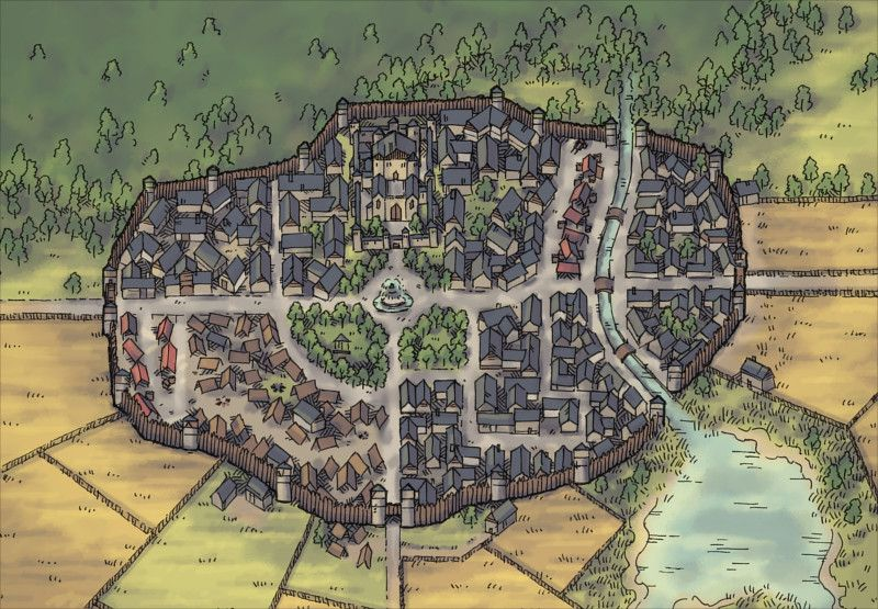 The town of Woodside, a regional map for D&D / Dungeons & Dragons, Pathfinder, Warhammer and other table top RPGs. Tags: city, country, farm, forest, lake, region, region map, river, town, wall