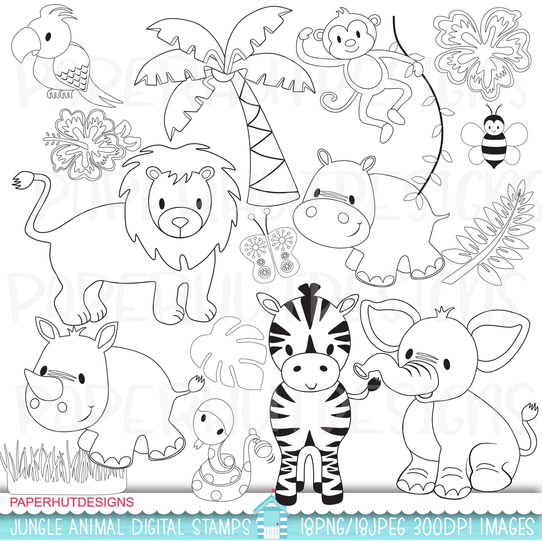 Jungle Animals Digital Stamps Safari Stamps Jungle Clip