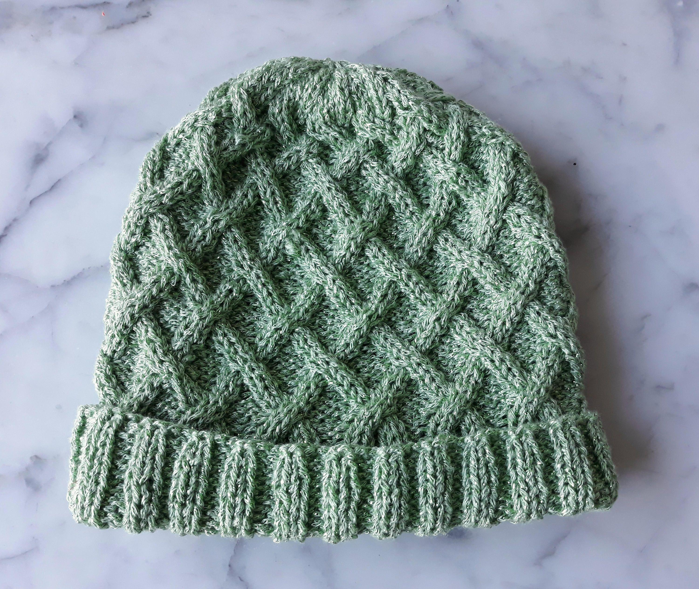 Aran knit beanie: original design handknit in green sparkly yarn ...