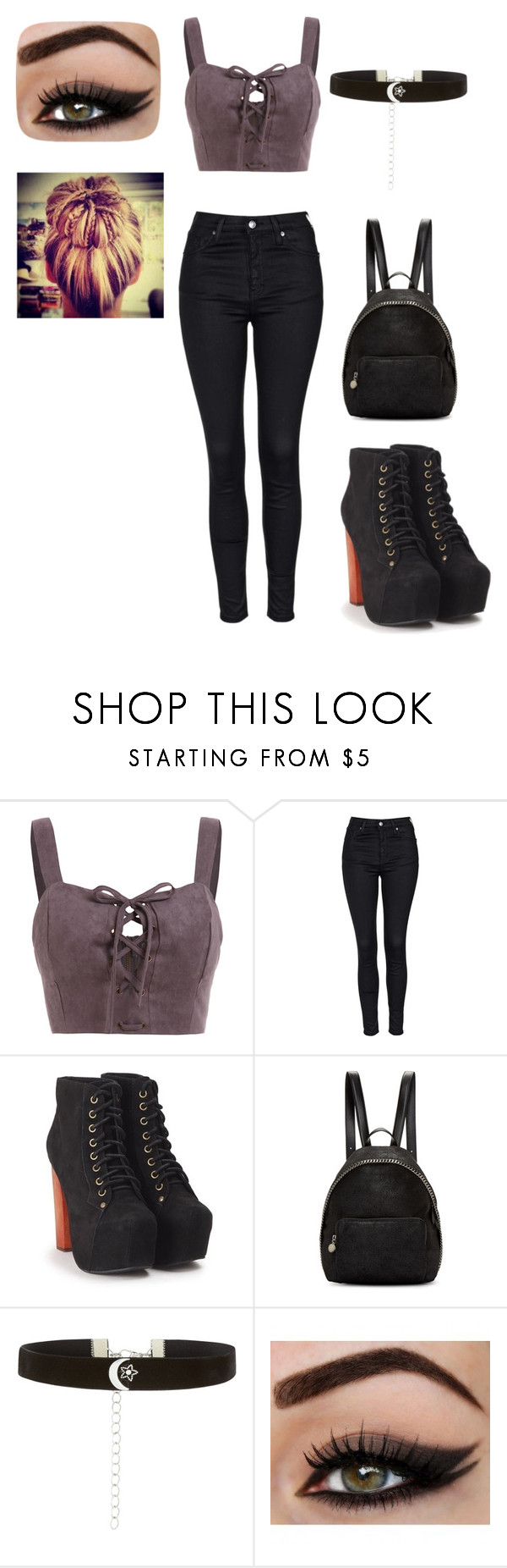 """Random Outfit 4"" by kayla2558 ❤ liked on Polyvore featuring Topshop, Jeffrey Campbell, STELLA McCARTNEY and New Look"