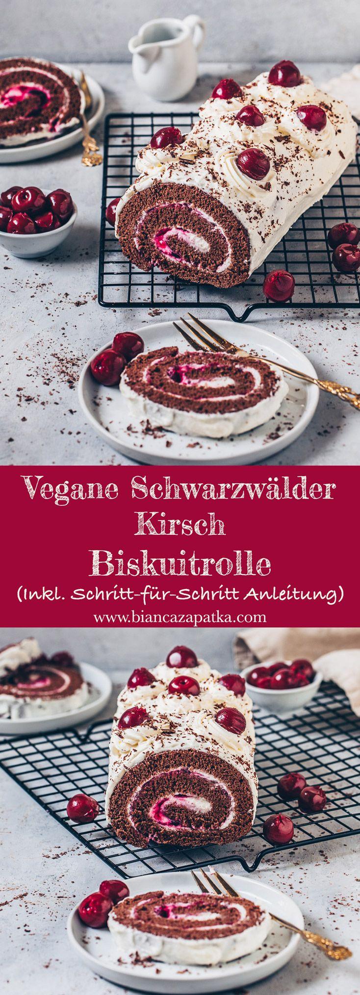 Vegane Schoko-Biskuitrolle Schwarzwälder Kirsch - Bianca Zapatka | Rezepte