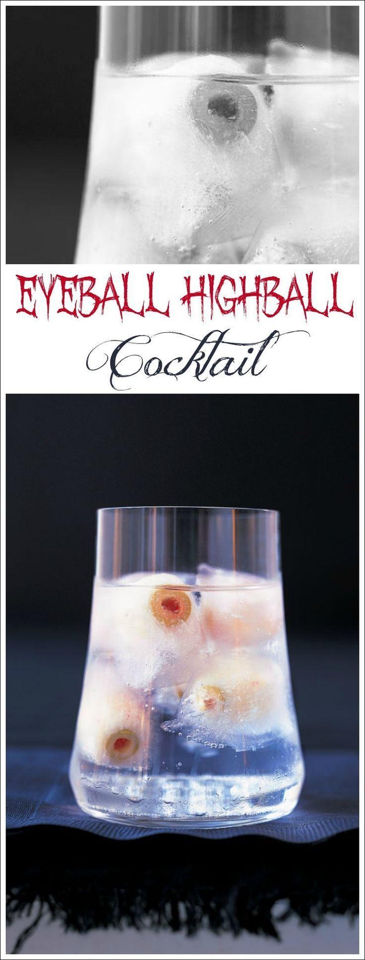 Eyeball Highball Cocktail for Halloween. Get this fun Halloween party cocktail recipe at This Mama Cooks! On a Diet