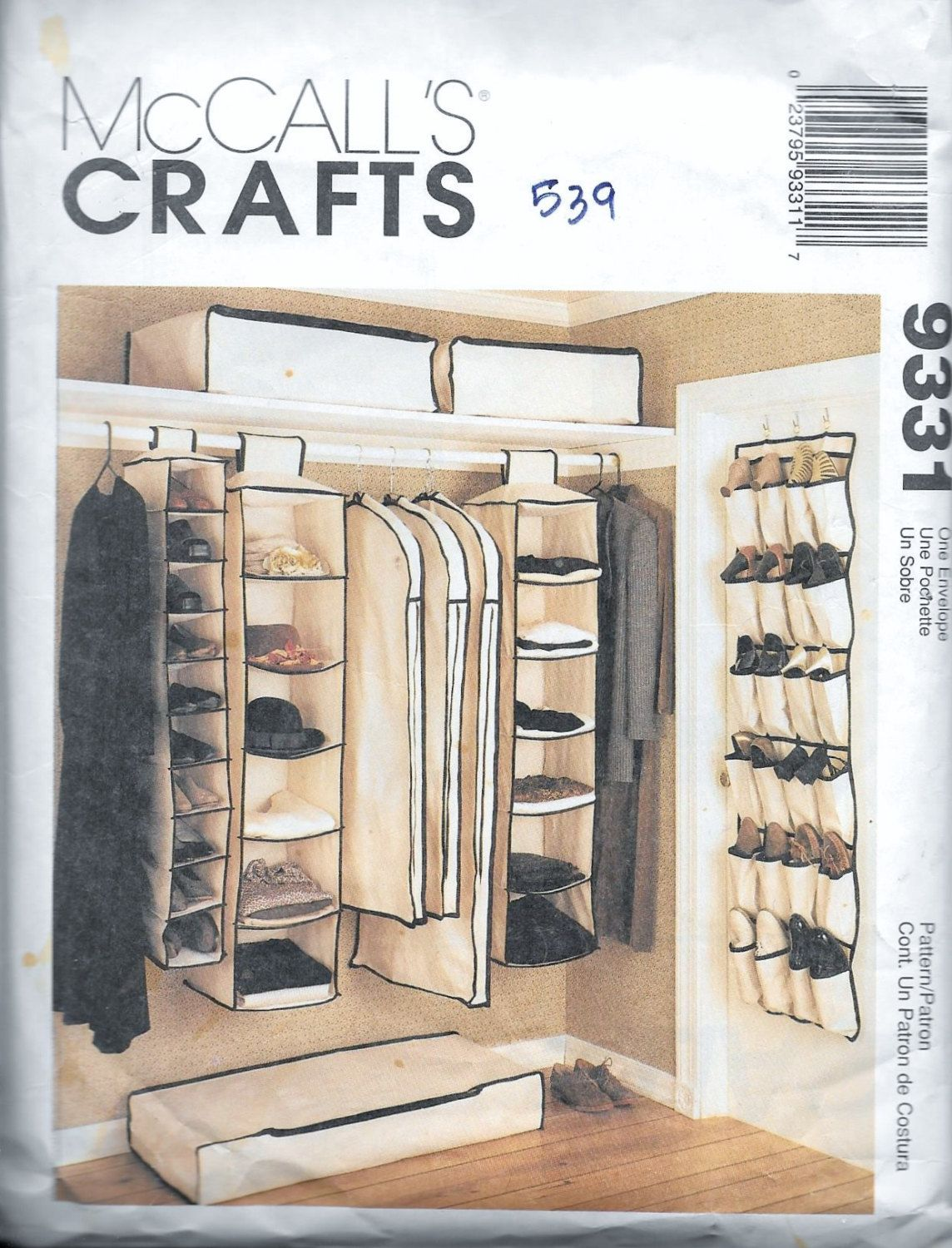 McCall\'s 9331 Crafts Hanging Closet Organizers Sewing Pattern ...
