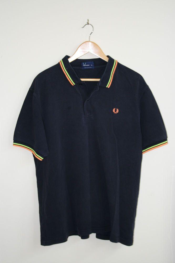 21e3756dc Vintage Fred Perry Polo Shirt Size XXL Navy Blue Orange Fashion Designer  Cotton