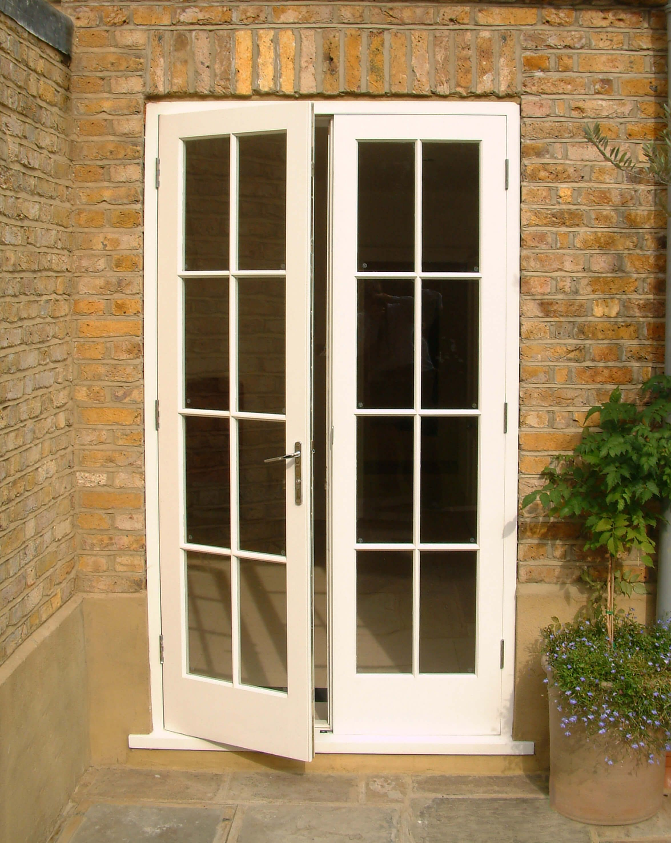 Stylish Pair Of External French Doors Opening Outward These Garden Doors Have Toughened Clea External French Doors Exterior House Doors French Doors Exterior