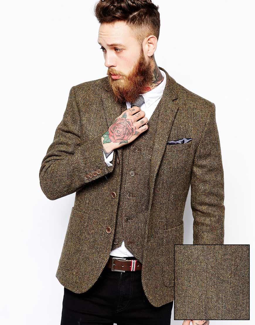 362d2e79880 ASOS Slim Fit Blazer and Vest In Khaki Harris Tweed at ASOS